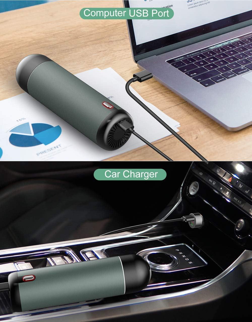 USB Rechargeable, Haute Utilisation Portable Puissance, Double Maison Et Verser Aspirateur Voiture (red-5000Pa) Green-5000pa