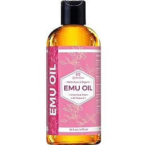 Leven Rose Emu Oil 100% Pure Natural Scar Minimizer Anti Aging Skin Moisturizer 16 oz