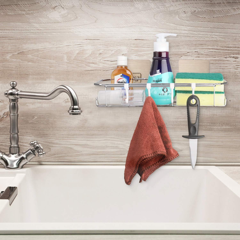 AngLink Cesta de Ducha Cepillo para Lavar Platos y Esponja 23 x 13 x 8 cm Cesta de Ducha para Colgar Organizador Ba/ño Acero Inoxidable Sin Taladro lavavajillas