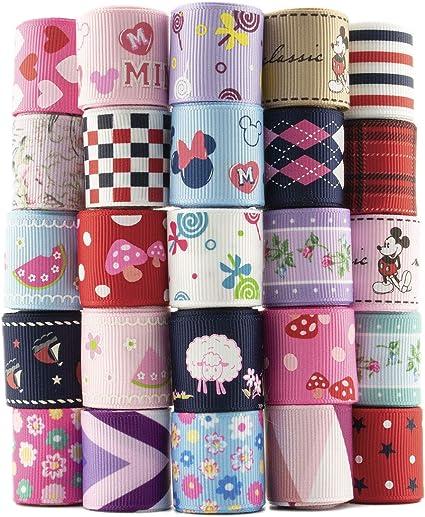 Summer-Ray 25 Yards 1 Printed Grosgrain Ribbon 25 Designs Value Pack
