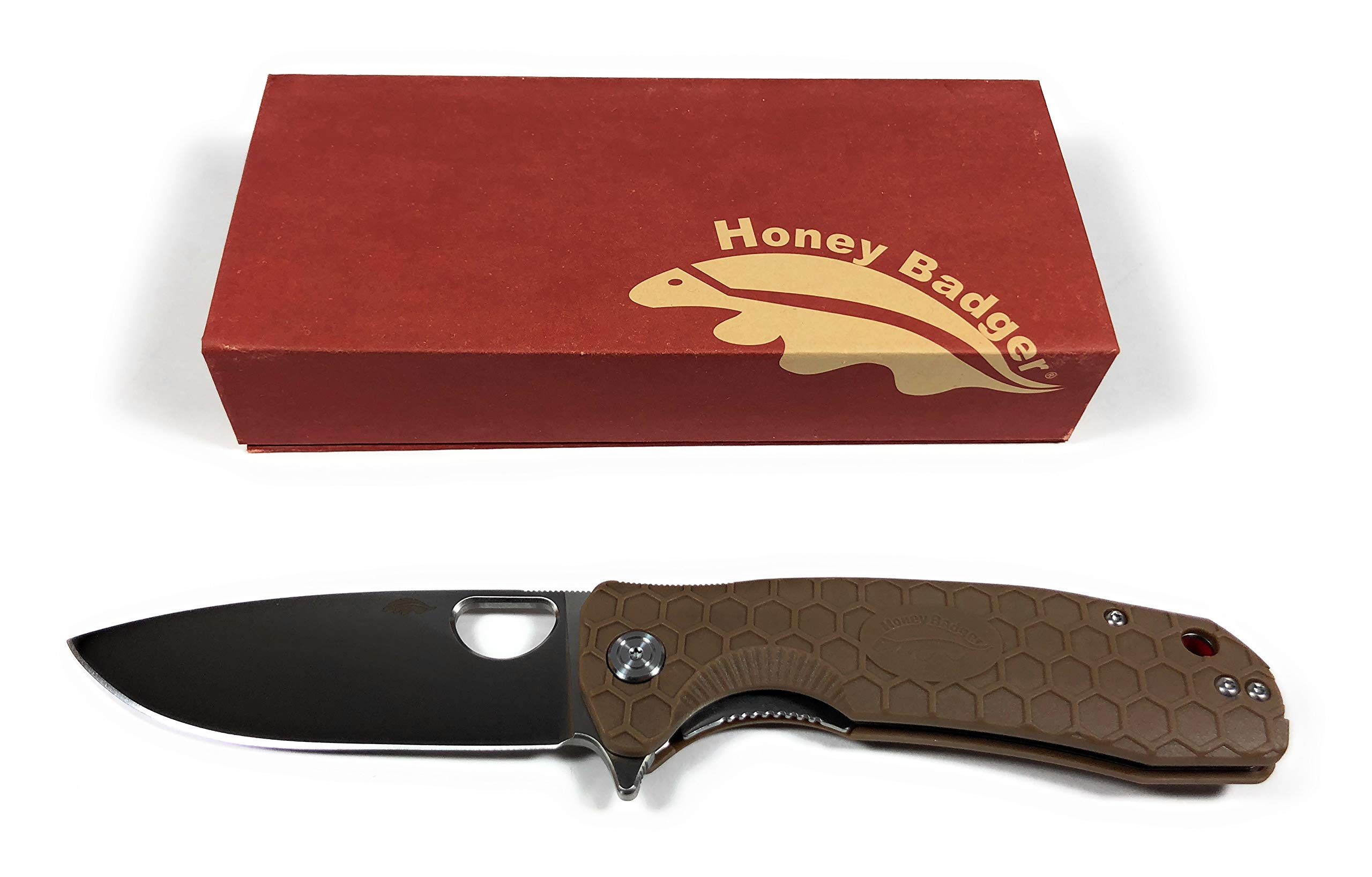 Western Active Honey Badger Pocket Knife Flipper EDC Knife for Hunting, Fishing, Tactical. Deep Pocket Carry Clip Gift Box with Torx Wrench (Tan-D2, Large 3.98oz - 4.6'' Closed - 3.63'' Blade) by Western Active (Image #2)