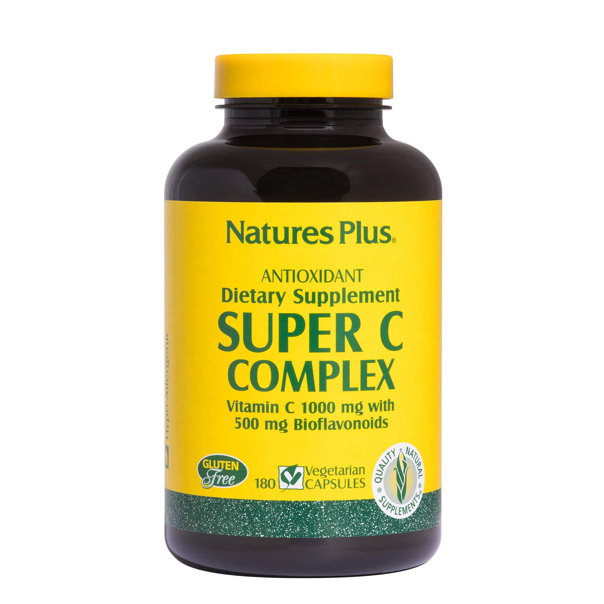 NaturesPlus Super C Complex - 1000 mg Ascorbic Acid - High Potency Vitamin C Immune Support Supplement, Antioxidant - 180 Vegetarian Capsules (90 Servings)