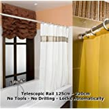 Telescopic Rail 125-220cm Shower Curtain Rod Bath Extendable Pole No Tools Required