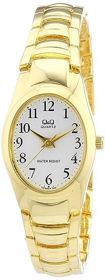 Q&Q F279J004Y - Reloj analógico de cuarzo para mujer con correa de metal, color dorado