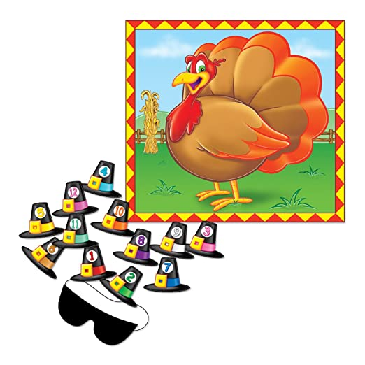 Pin the Hat on the Turkey Thanksgiving game for kids