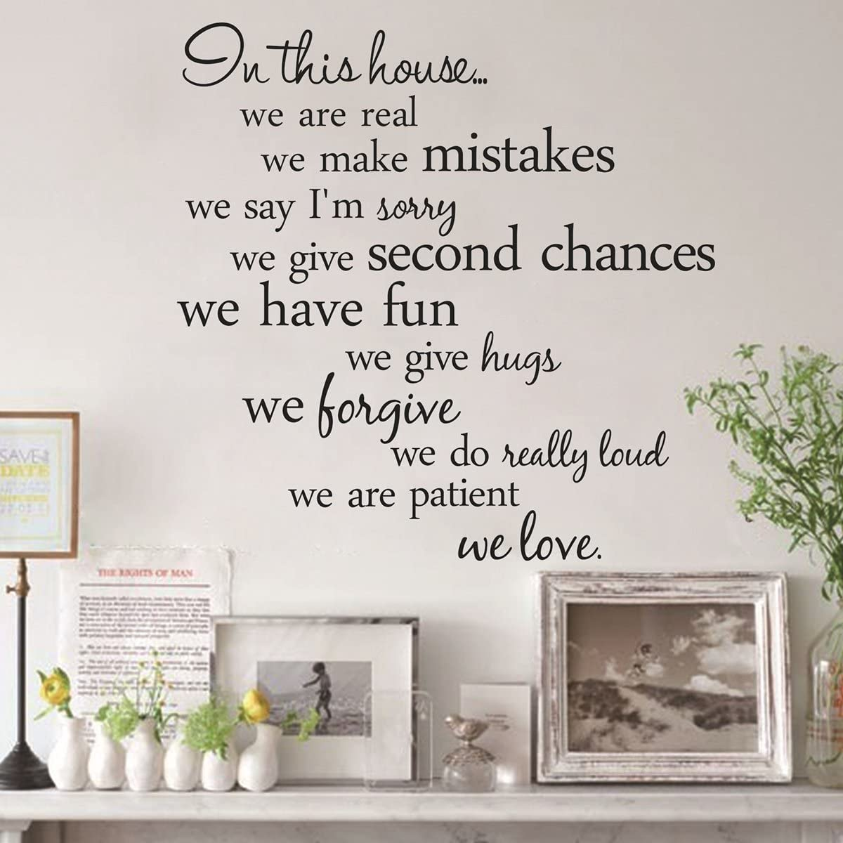 PIXNOR Novelty In This House Home Rules DIY Removable Wall Quote Sticker for Room Decor