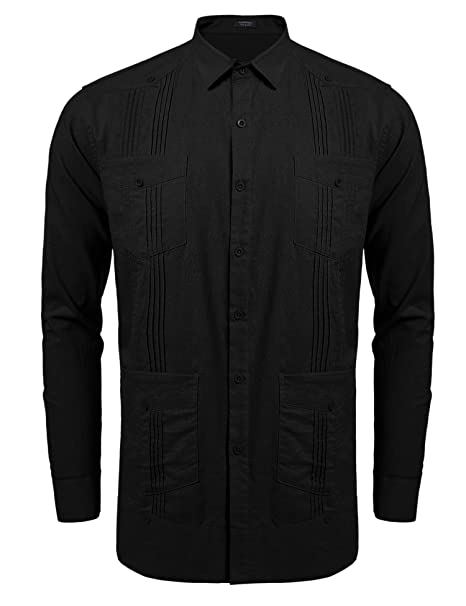 fb06b55de7 COOFANDY Men s Long-Sleeve Guayabera Cuban Shirt Casual Button Down Shirt   Amazon.ca  Clothing   Accessories