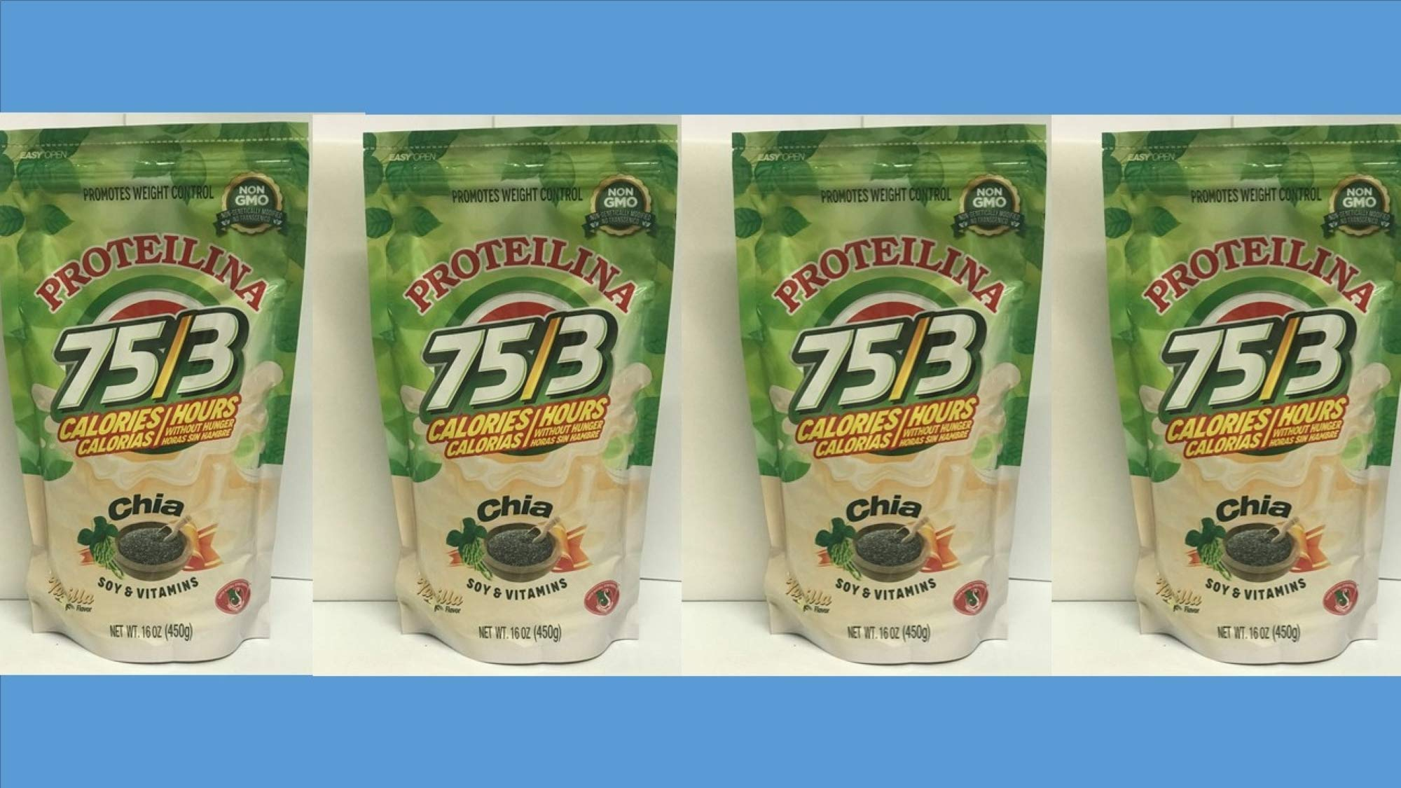 4 Pack Soy Protein & Vitamins PROTEILINA 16 OZ