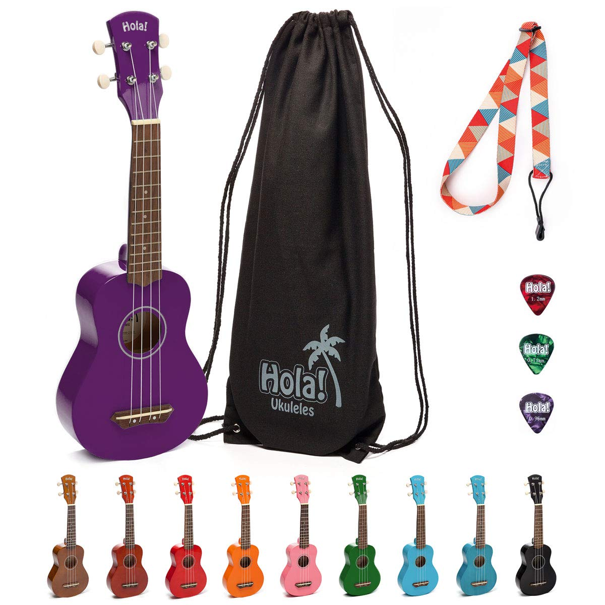 Hola! Music HM-21PP Soprano Ukulele Bundle with Canvas Tote Bag, Strap and Picks, Color Series - Purple by Hola! Music