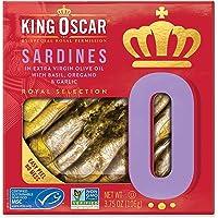 King Oscar Royal Selection Sardines In Extra Virgin Olive Oil, Basil, Oregano & Garlic, 3.75 Oz (Pack of 10)