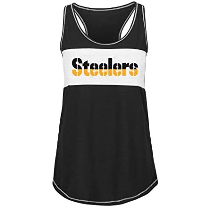 Pittsburgh Steelers Women s Black Game Time Glitz Tri-Blend Tank Top Small 44704dc31