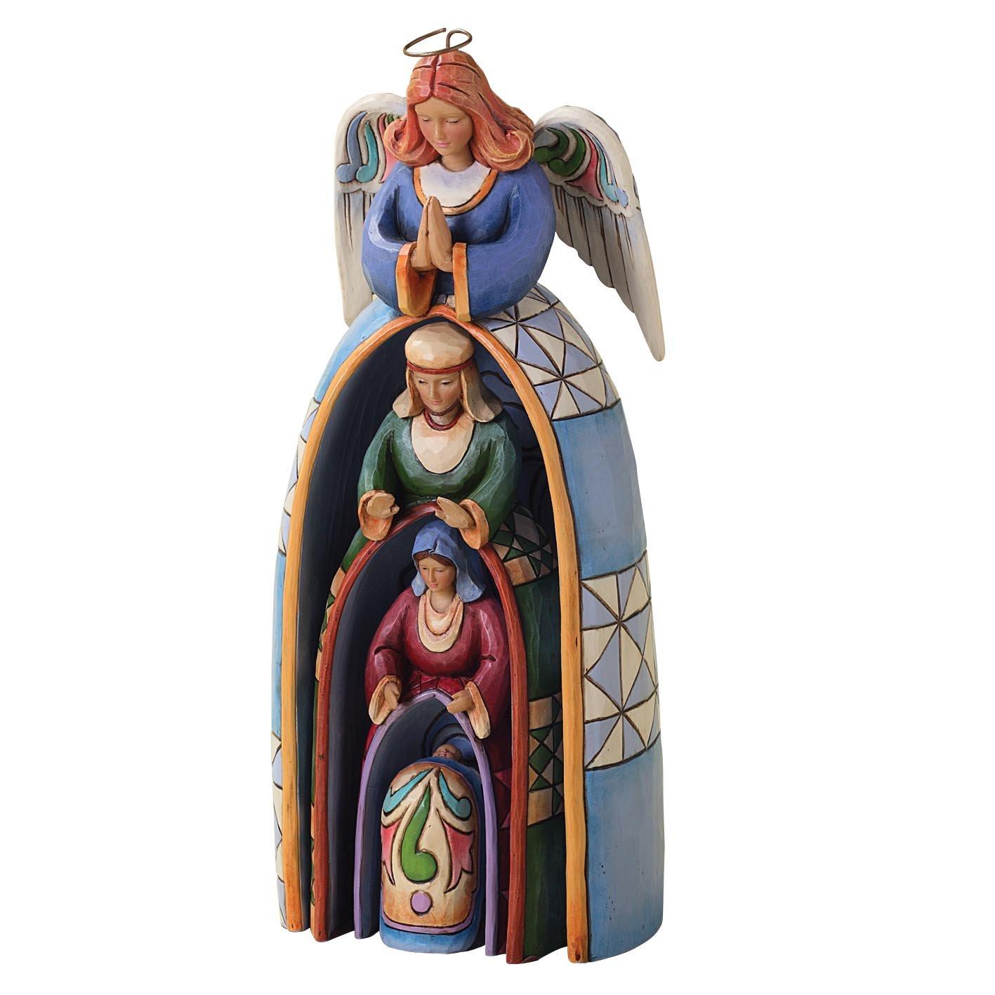 Enesco Jim Shore Heartwood Creek Nestled Holy Family Nativity 4-Piece Set, 9-3/4-Inch
