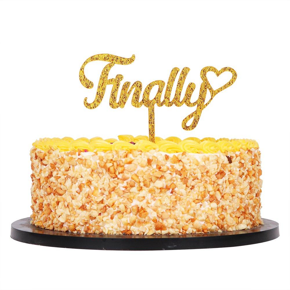 QIYNAO Gold Glitter Acrylic Finally Cake Topper--Wedding,Bridal Shower,Script Party Decoration