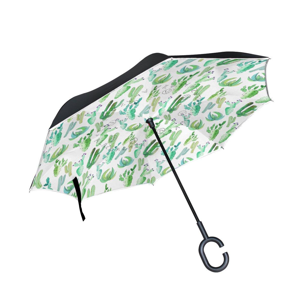 OKONE Envers inversé Ouverture Automatique Parapluie Compact léger Droites parapluies avec Plantes artificielles Cactus pour Auto et à l'extérieur