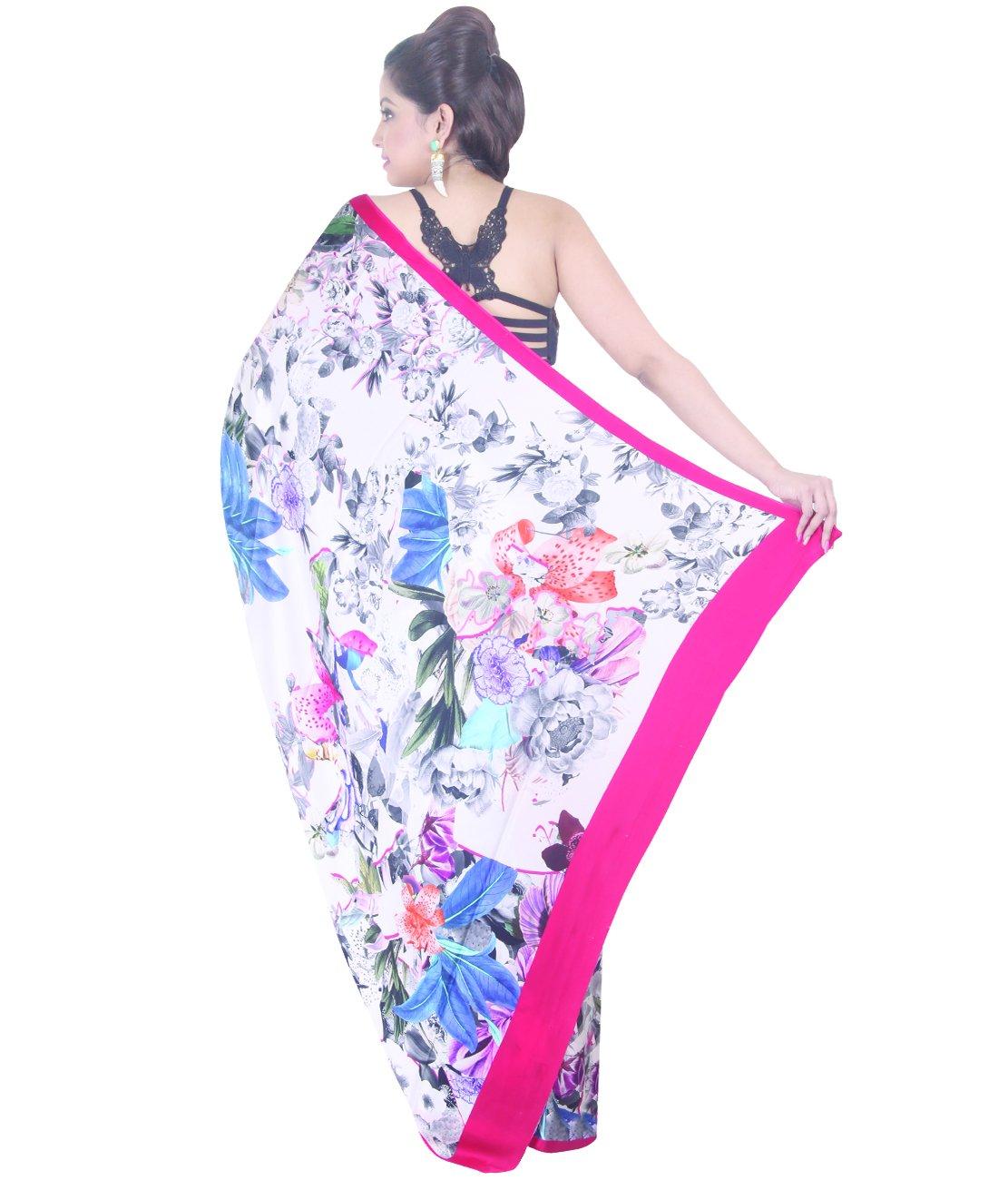 Indian Ethnic Crepe Multicolour Printed Saree by Simaaya Fashions Pvt Ltd (Image #5)