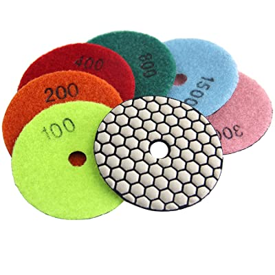 Easy Light 3 Inch Diamond Dry Polishing Pads for Granite Marble Polisher (7 Pcs Set, Grit 50-3000): Automotive