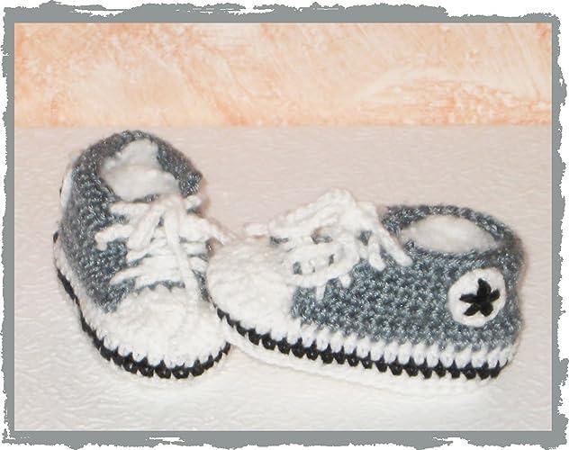 Scarpine Sportive Neonato Uncinetto Bimbi Grigio Sneakers All Star