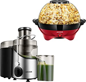 AICOOK Juice Extractor 400W, 3 Speed Centrifugal Juicer & Electric Hot Oil Popcorn Popper Machine, 6-Quart/24-Cup 800W