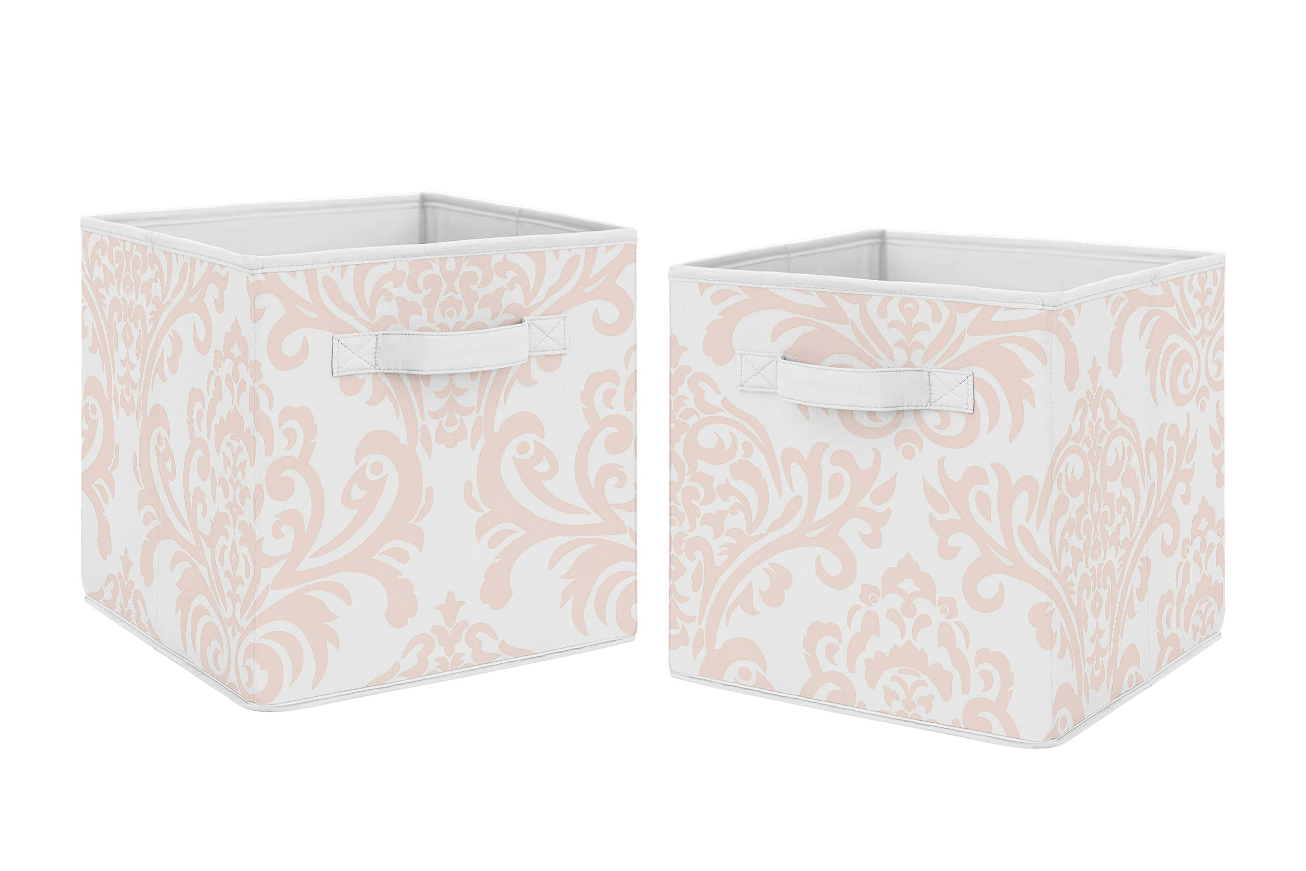 Sweet Jojo Designs Blush Pink and White Damask Organizer Storage Bins for Amelia Collection - Set of 2 by Sweet Jojo Designs