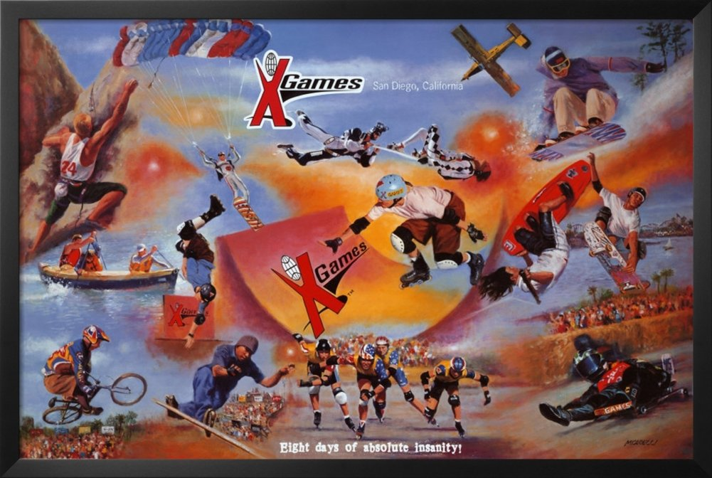FRAMED X-Games Collage by Clement Micarelli Art Print Poster Wall Decor Extreme Sports 0 by Buyartforless