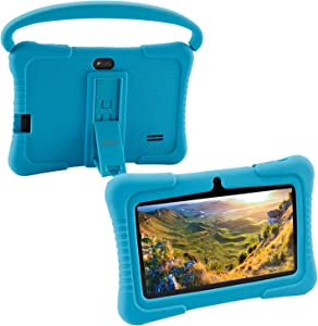 7 inch Kids Tablet PC Case, Silicone Cover with Handle and Kickstand Compatible with TOPELOTEK 7, HENGKE 7, Dragon Touch Y88X Plus, Tagital 7 T7K, Contixo Kids Tablet K2 K3 Q88 (Blue)