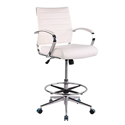Genial Poly And Bark Tremaine Drafting Chair In Vegan Leather, White