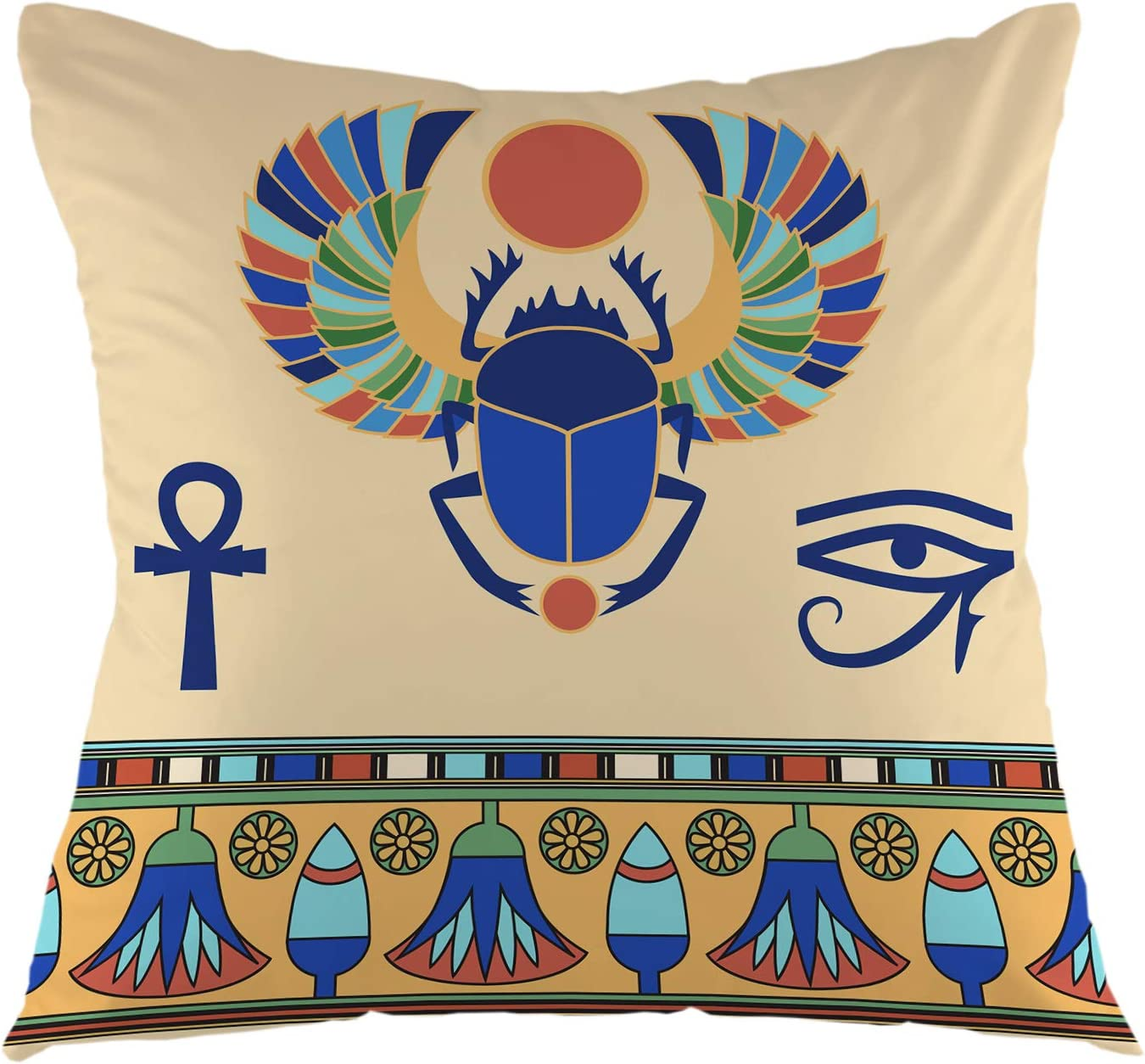 """oFloral Scarab Pillowcase,Egyptian Icons Egypt Ethnic Ancient Beetle Cairo Pharaoh Symbol Throw Pillow Cover Square Cushion Case for Sofa Couch Car Bedroom Living Room Home Decorative 18"""" x 18"""""""