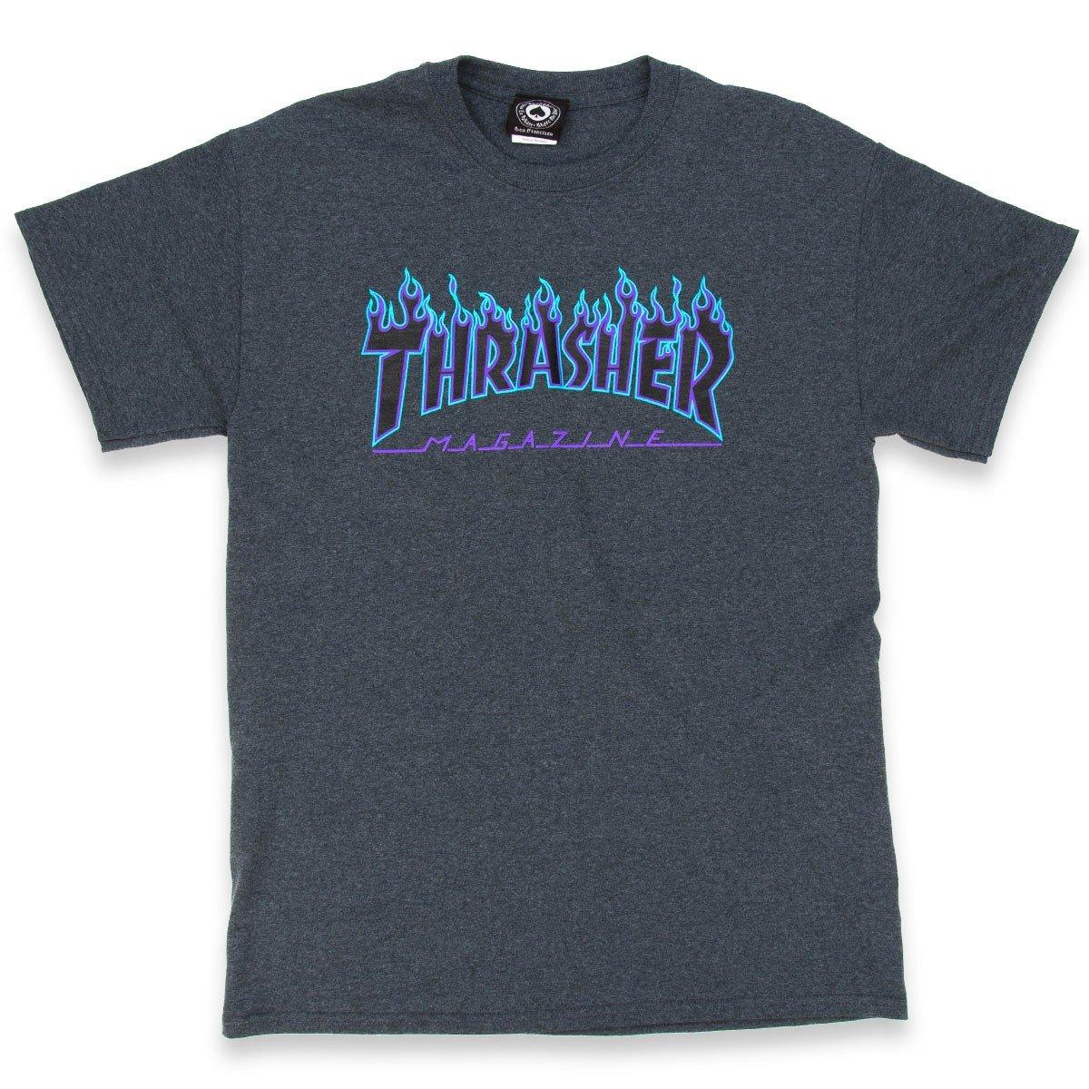 Thrasher Skateboard Magazine Flame T-Shirt Dark Heather