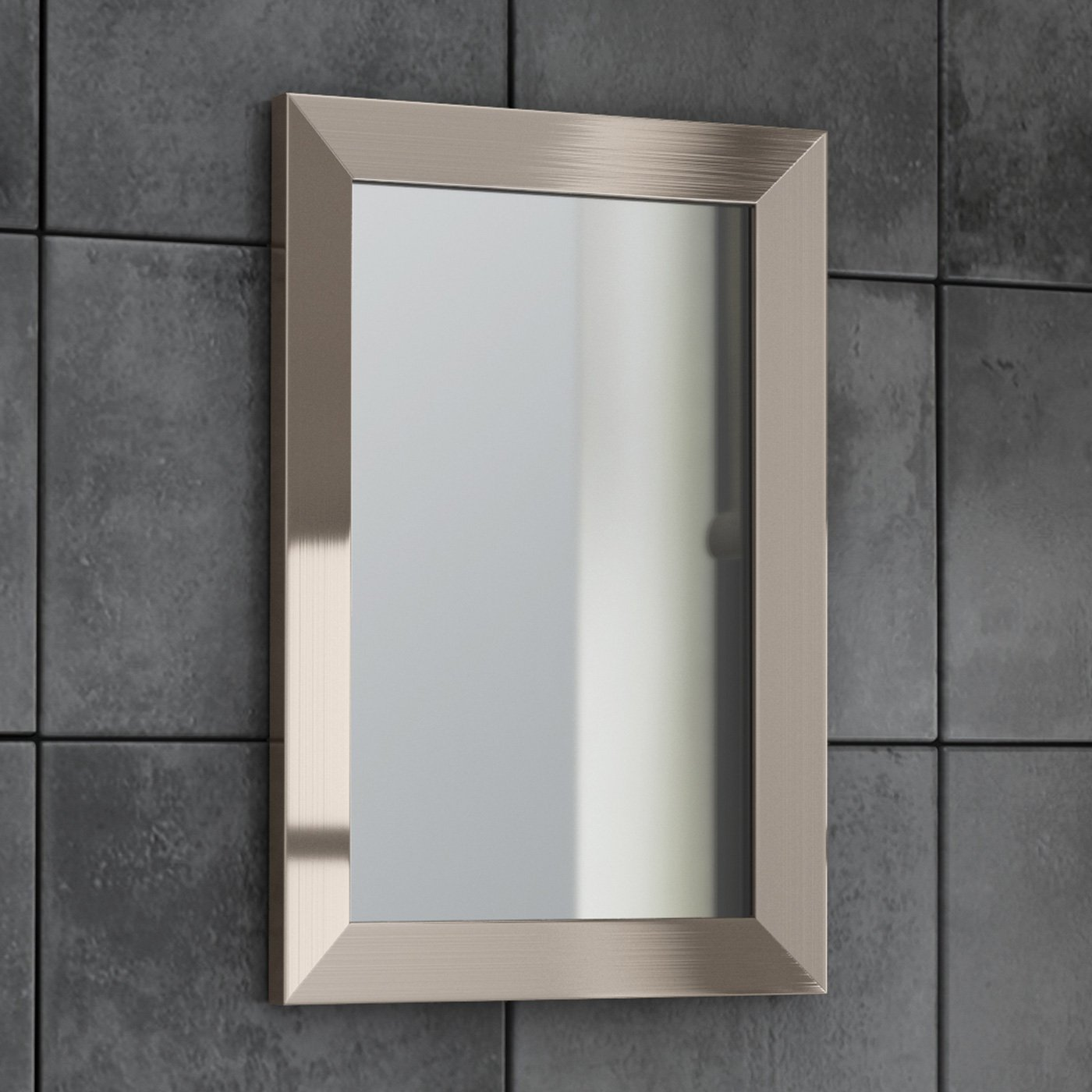 Wall Hung Silver Framed Bevelled Mirror Bathroom Furniture ML8005