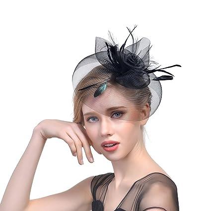 JZK® Fiore retina piume velo fascinator nero con cerchietto   mollette  copricapo cerimonia matrimonio festa 173133bf1e36