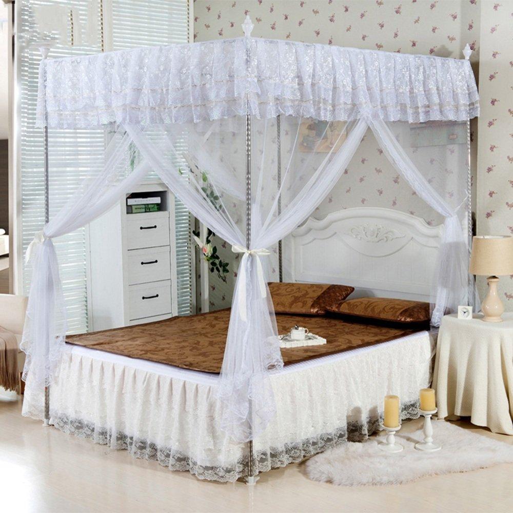 QFFL wenzhang ホームモスキートネットダブルベッドモスキートネットスクエアタイプフロアスタンディングステンレスステントモスキートネット (色 : C, サイズ さいず : 1.8M bed) 1.8M bed C B07DLWLRR1