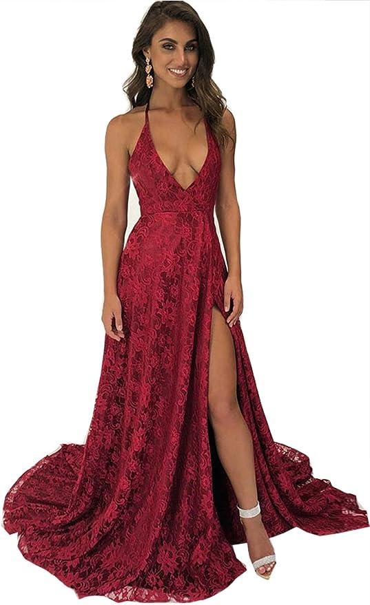 Women Fishtail Style Trendy Lace Halter Solid Evening Banquet Dress//Sundress #L1