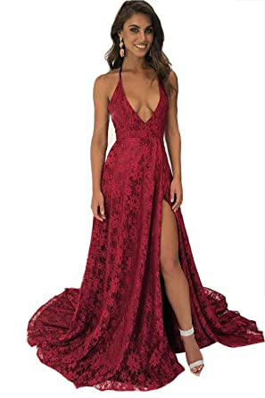 14022b0df42 Fanciest Women s Halter Slit Lace Prom Dresses 2018 Deep V Neck Backless  Evening Formal Gowns Red at Amazon Women s Clothing store