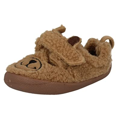 157c3d0074fc Clarks Boys Seasonal Shilo Jack Fst Textile Slippers In Light Brown Wide  Fit Size 2