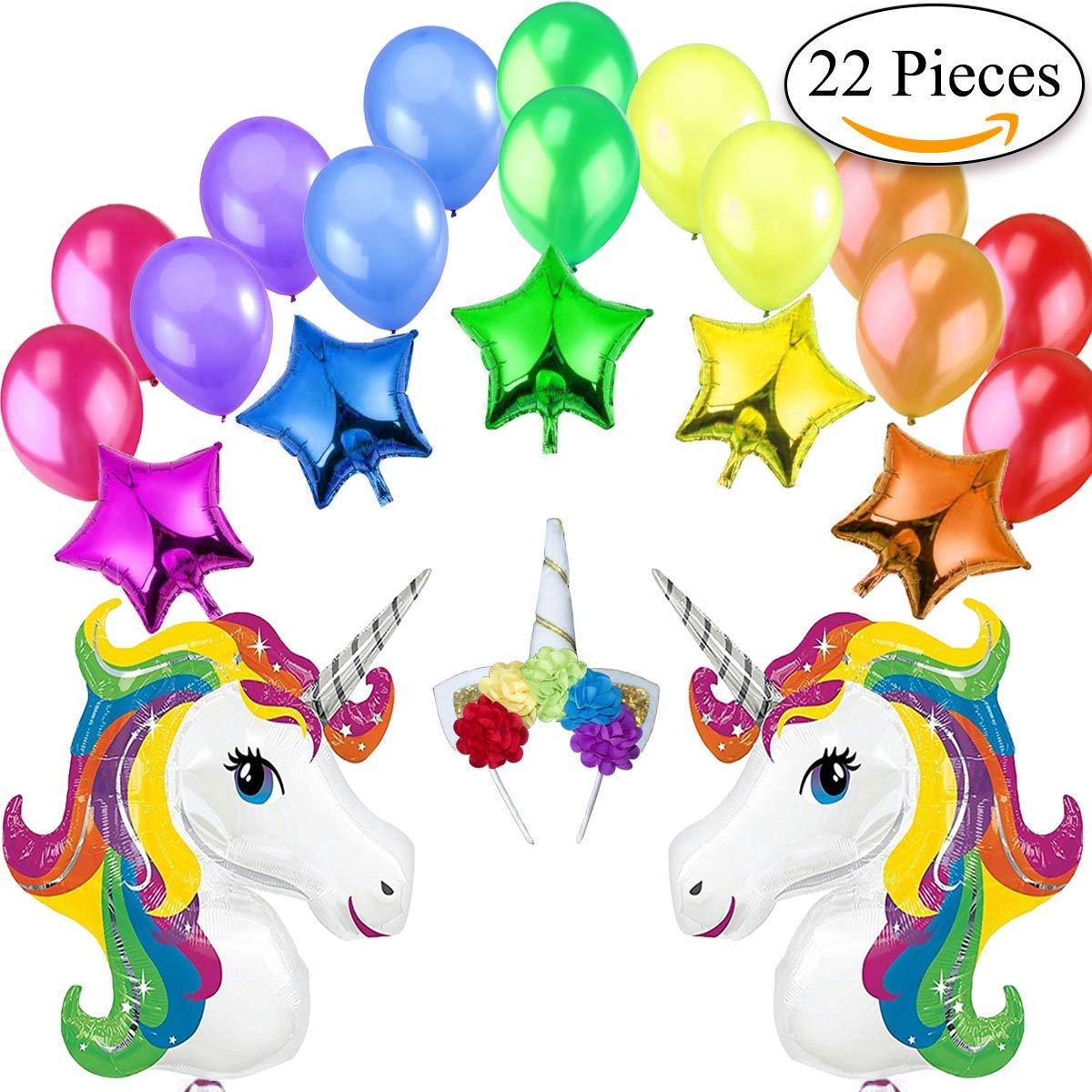Unicorno Kit Decorazione Festa di Compleanno-2 Unicorni Giganti Arcobaleno, 5 Palloncini a Stelle, 1 Diadema/Cerchietto per Capelli a Unicorno e 14 Palloncini Perlati Jonami