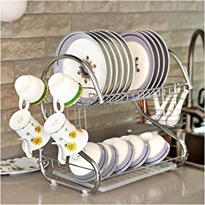 2 Tiers Dish Drying Rack Home Washing Holder Basket Kitchen Sink Dish Drainer Drying Rack Organizer,A