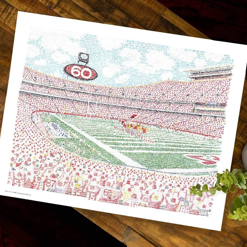 Kansas City Chiefs Arrowhead Stadium Word Art Print - Handwritten with Every Chiefs Player in History - Unframed 16x20 - Chiefs Gifts & Decor