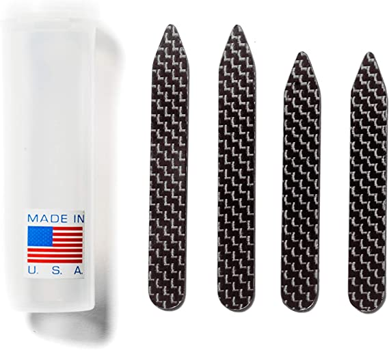 Amazon.com: Carbon Fiber Collar Stays Set - Collar Stiffeners - Mens - 2  Pairs - 2.5