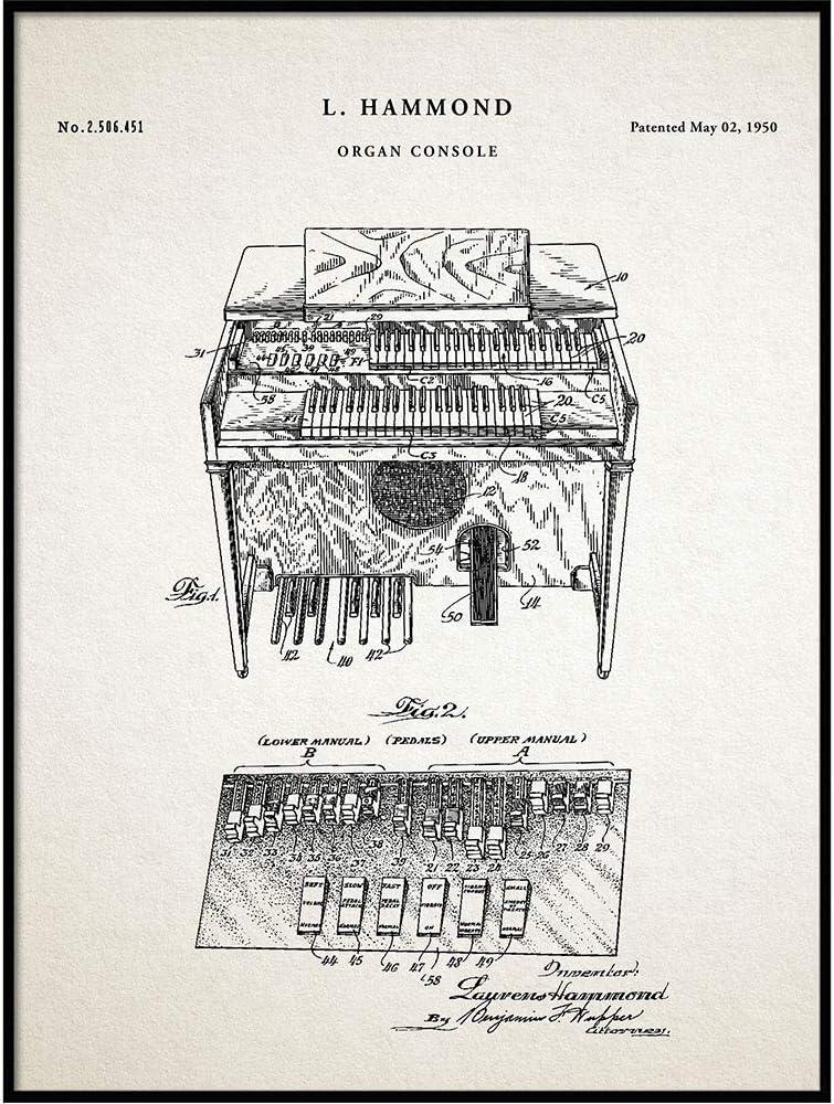 Vintago Hammond Organ Patent Print, Poster Print, Electrical Music Instrument, Organ Blueprint Art, Music Decor, Musician Gifts, Music Decor, QP661