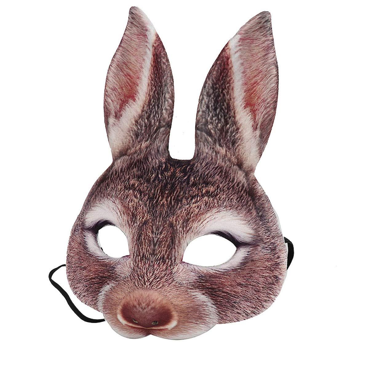 Amosfun Ostern Kaninchen Maske Halbe Gesichtsmaske Karneval Party H/äschen Kost/üm Ohr Maske Braun
