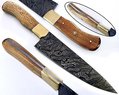 Cuchillo de Cocina Chef Hecho a Mano con Hoja de Acero Damasco Longitud Total 32,00 cm. Longitud de la Hoja: 20,00 cm 2158