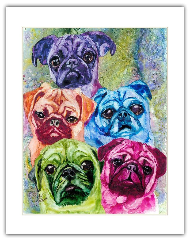 Rainbow Card Company Matted Print, 11 by 14-Inch Pug Mugs