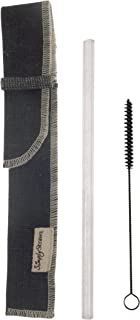 product image for Simply Straws Classic Clear Straw with Denim Single Sleeve and Cleaning Brush