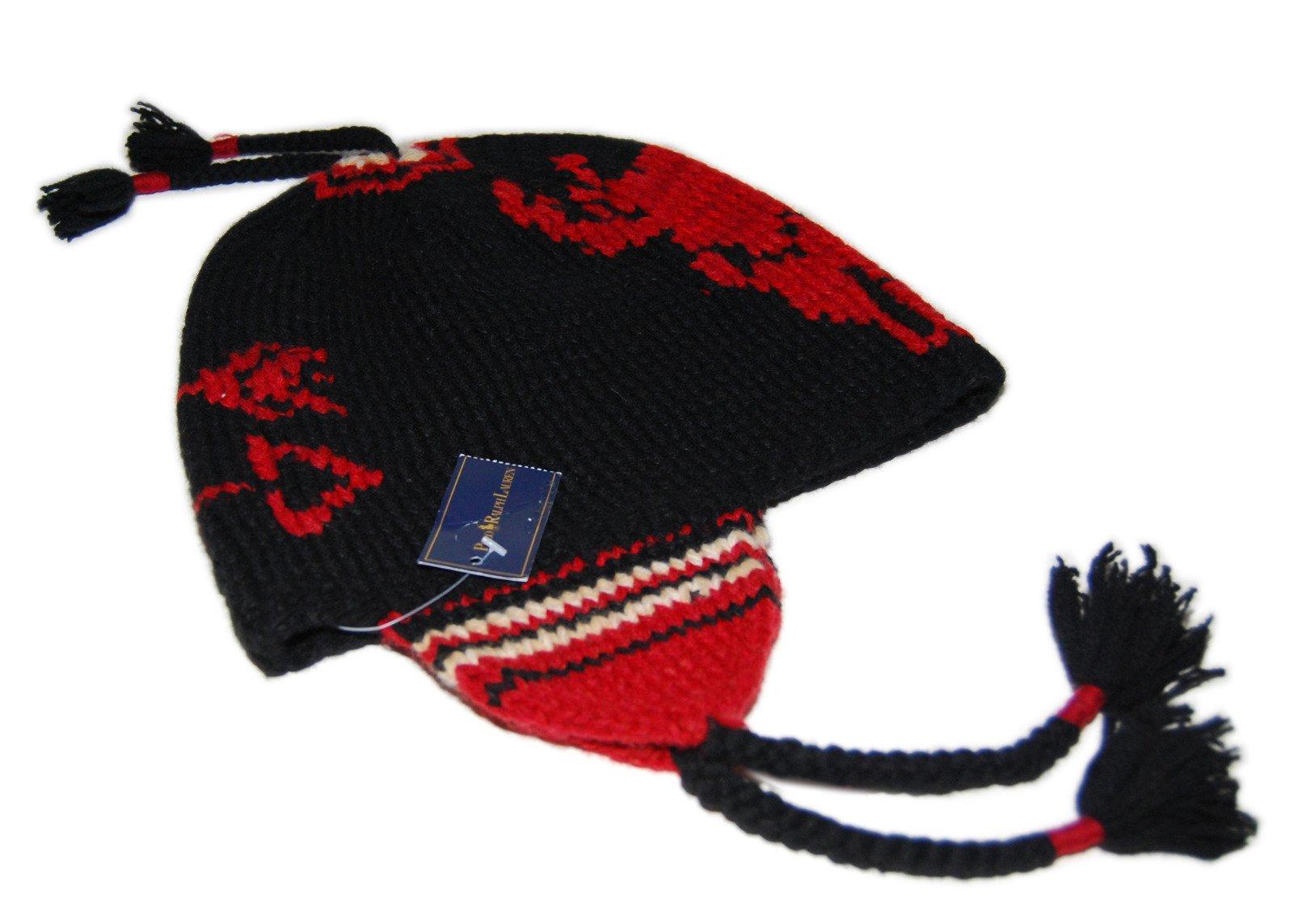 Polo Ralph Lauren Mens Western Indian Linen Wool Skull Knit Hat Cap Black Red by RALPH LAUREN