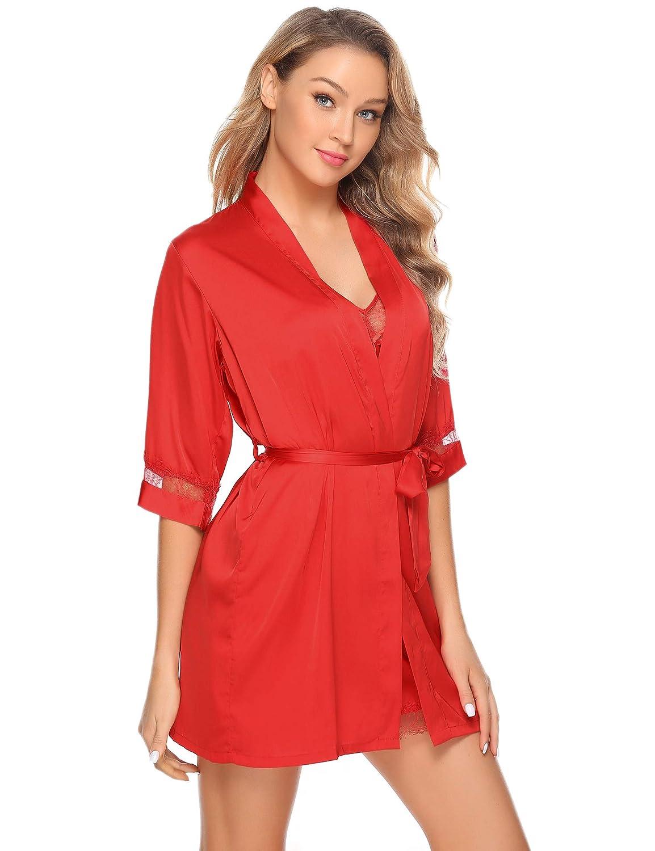 Sykooria Bata Kimono Mujer 2 Piezas Seda Sat/én Corto Kimono Bata Pijama Vestido de Encaje Conjunto de Lencer/ía Albornoz Vestido de Dama de Honor de Camis/ón