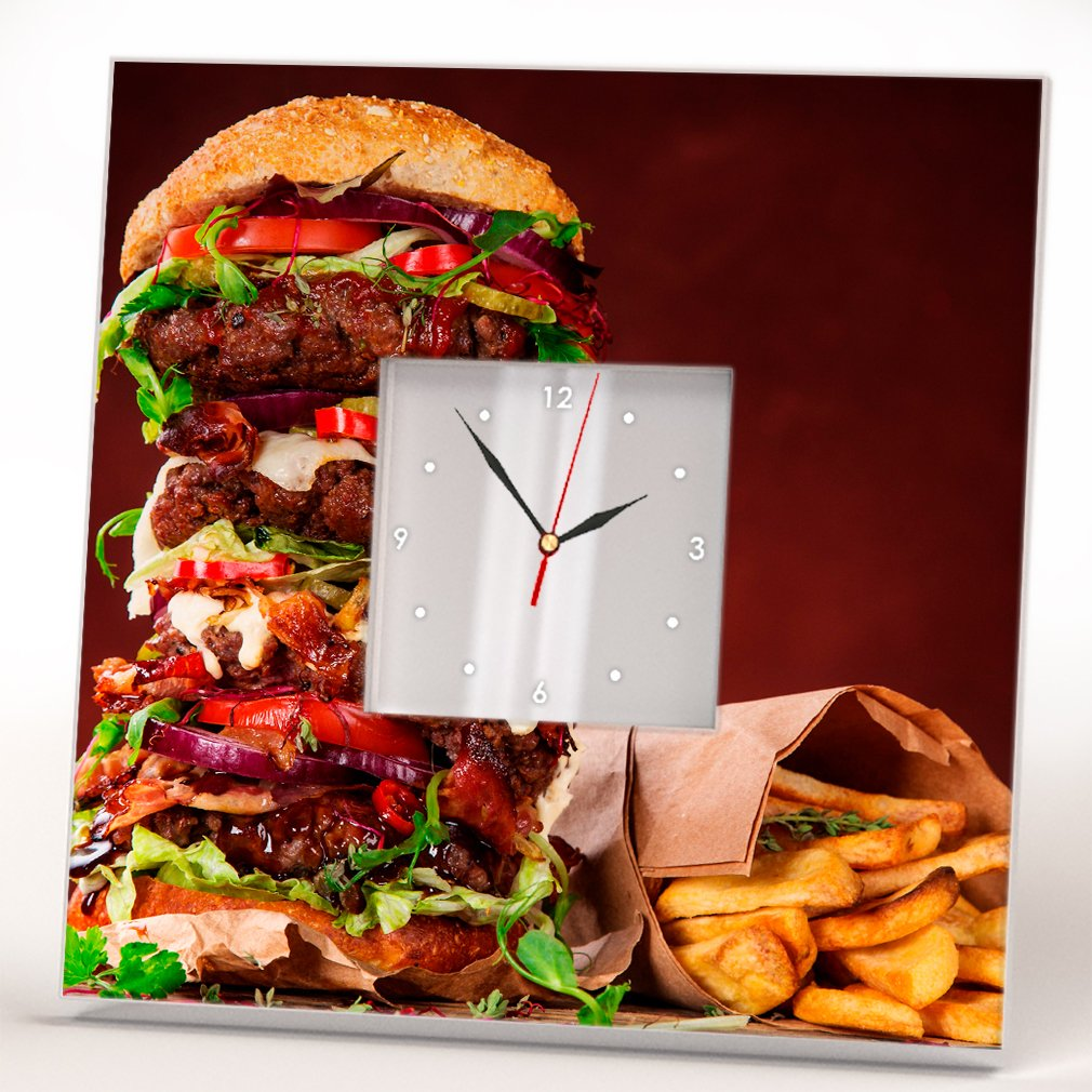 Burger French Fries Wall Clock Framed Mirror Food Art Fan Bar Cafe Kitchen Decor Home Design Gift