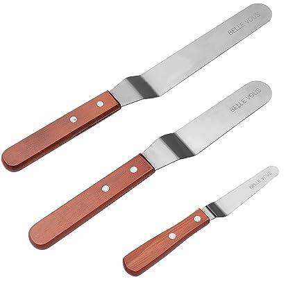 Cuchillos de Repostería 3 Pcs - Espatula Acodada de Acero Inoxidable (20.5cm, 15cm, 10cm) - Icing Espátula with Mango Solido - Espátula para glaseado ...