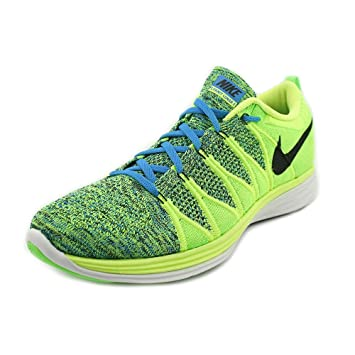 sports shoes 662fa a8f88 Nike Mens FlyKnit Lunar 2 Running Shoes - Volt Black Photo Blue Electric