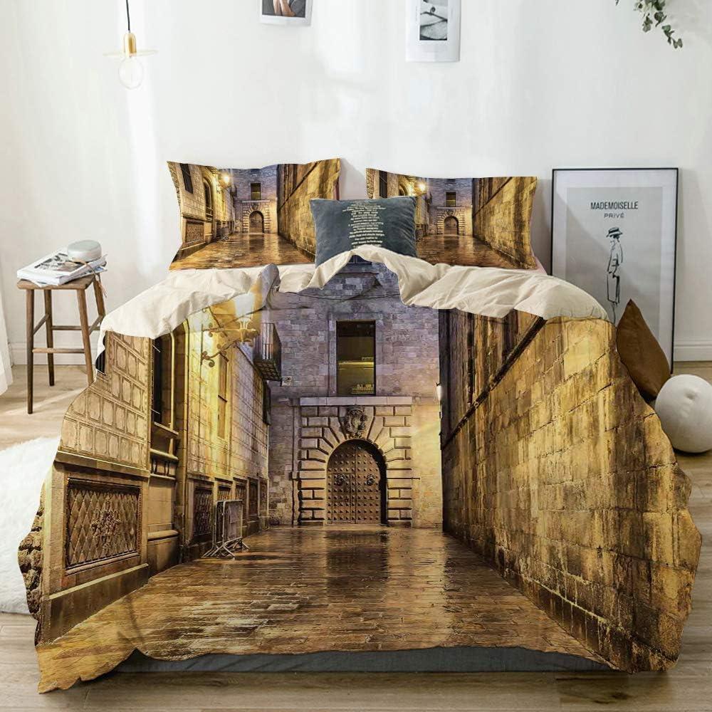 Juego de funda nórdica beige, piedra oscura Ancient Street España European Horror Dark Evil Renaissance Medieval Art, juego de cama decorativo de 3 piezas con 2 fundas de almohada Easy Care Anti-Aller