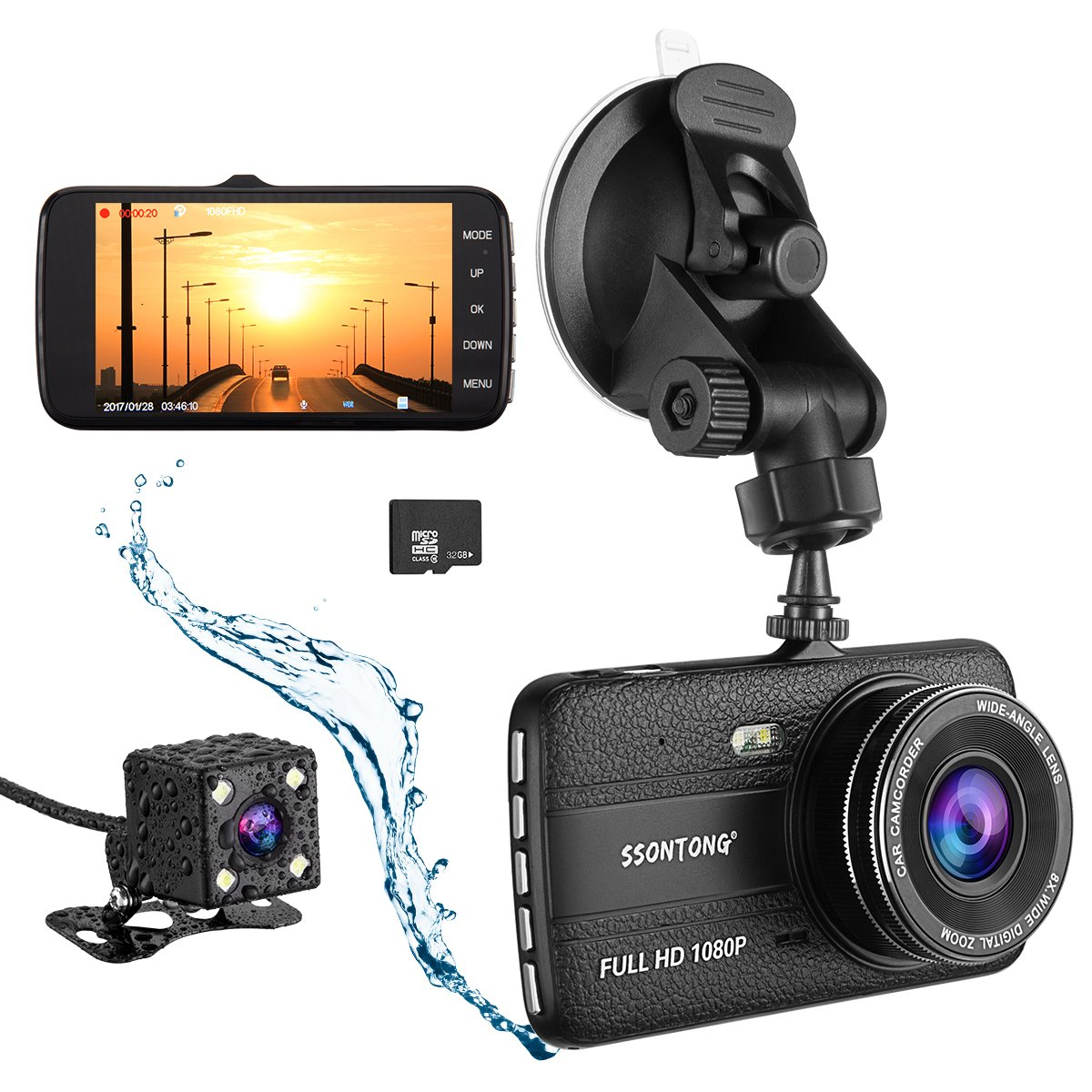Dash Cam,Ssontong Dual Lens Car Front and Rear Channel Dashboard Camera Full HD 1080P,4.0'' Screen,170 Degree Wide Angle Vehicle On-dash Video Recorder Built In Night Vision,WDR,32GB SD Card included